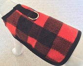 Fleece Red And Black Plaid Dog Harness Coat