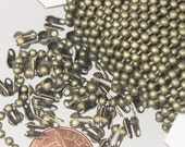 32 ft. spool of Antique Brass ROUND ball chain - 2.4mm ball size - with FREE 50pcs Connectors (Crimp type) - Ship from California USA