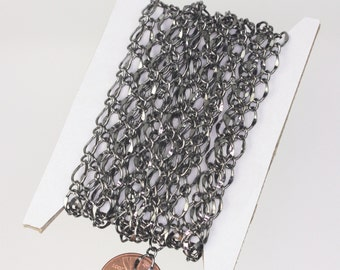 Gunmetal Chain Bulk Chain, 32ft Spool of Gunmetal Necklace Wholese Big Hammered Chain Soldered  Curb Chain - 5x8mm SOLDERED Link