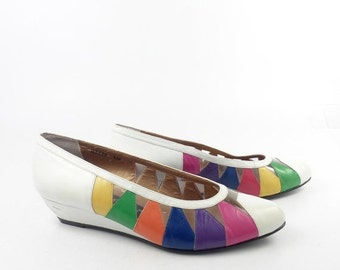 Rainbow Heels Shoes Vintage 1980s White Leather Ros Hommerson Women's size 6 M