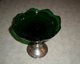 Anston sterling silver base Emerald green Glass compote candy dish center piece