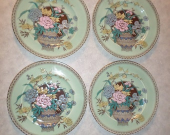4 set Clarice Cliff hand painted enamel Ophelia Dinner Plate Newport Pottery England