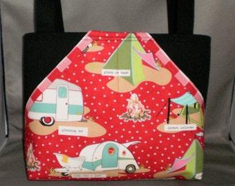 Fabric Tote Bag - Purse - Glamping - Sassy Pockets - Red Gingham- Camping - RV