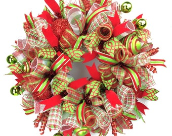 Holiday Wreath in Red & Lime Green with Ornaments, Christmas Door Wreath, Christmas Door Wreath, Wreaths for Christmas