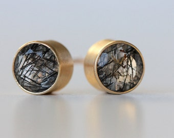 Black Tourmalated Quartz Stud Earrings in Recycled 14k Gold - Brushed Modern Finish - Bezel Set Posts - Faceted Gemstone Earring