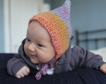 Pixie Hat Knitting Pattern, PDF Knitting Pattern, Knit Baby Hat Pattern, Easy Baby Knit Download - RAINBOW - Knit Pixie Hat PDF