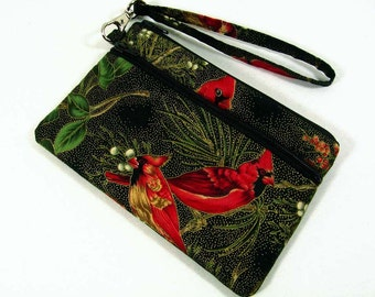 Cardinals large id wristlet, cell phone purse, id purse, coin purse, credit card pouch, gift for her, student id holder, iPhone 5 purse