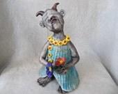 Whimsical folk art handbuilt clay character pottery statue