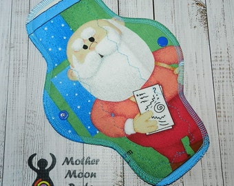 "OOAK 10"" Moderate Flow Reusable Cloth Menstrual Pad ~ Made with Old School Rudolph Cotton, WINDPRO ~ by MotherMoonPads"
