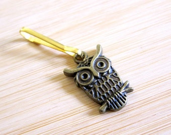 Owl on a Branch Bronze Tone Zipper Pull Purse Charm