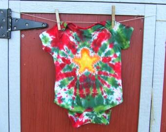 18m Tie Dye Baby Onesie - Holiday Star - Ready to Ship