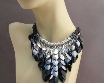 Aluminum Scales Bib Necklace - Elemental Leaves