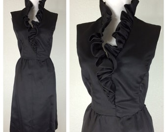 Vintage 1950s Black Cocktail Party Dress Ruffled Neckline Sateen