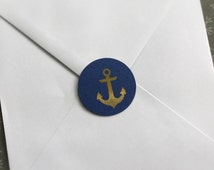 Gold anchor STICKERS in navy and gold leaf for sealing envelopes  set of 10