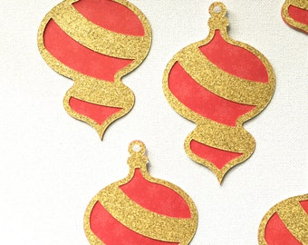 Christmas ornament die cut embellishments in gold glitter and red set of 10