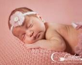 RTS Rose Pink Newborn Tie Back Headband, Old Rose Chiffon Rhinestone Headband Newborn Photo Prop, Newborn Girl Photography Prop, Pearl