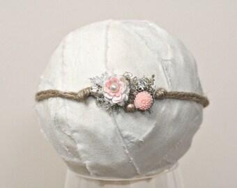Newborn Girl Tie Back Headband Photo Props, Chloe Peach Flower & Moss Baby Girl Headband, Newborn Baby Photo Props, Custom Photo Props