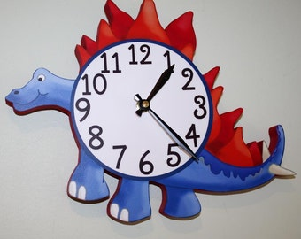 Spike Tail Dinosaur Navy Wooden WALL CLOCK for Boys Bedroom Baby Nursery WC0092