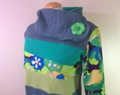 DREAM GARDEN - Hoodie Sweatshirt Sweater - Recycled Upcycled - One of a Kind Women - MEDIUM