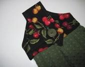 Button top towel  oven door towel  Cherries with  green  waffle weave towel Quiltsy handmade