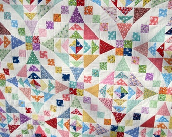 Double Full Patchwork Quilt Reproduction thirties Blanket traditional quilt Quiltsy handmade