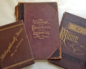 SALE Lot of 3 Antique/Vintage Book Covers - Books - Mixed Media - Supplies - Art Journal - Memory Album - Salvage Book Covers
