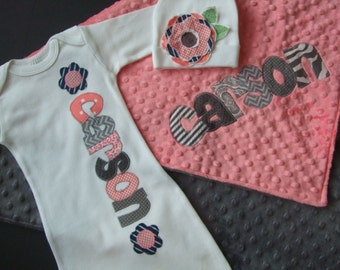 Baby Girl Coming Home Outfit//Personalized Baby Gown, Blanket & Hat for Baby Girl//Hospital outfit//Minky Name Blanket//Custom Outfit//Coral