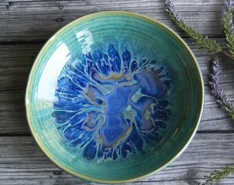 Shallow Serving Bowl Blue and Green Dripping Glaze Handmade Stoneware Pottery Ready to Ship Made in USA