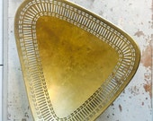 RESERVED ~ Vintage Brass Footed Tray Bowl with Pierced Edge and Mid Century Modern Design