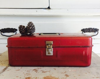 Vintage Metal Tackle Box in Country Christmas Red