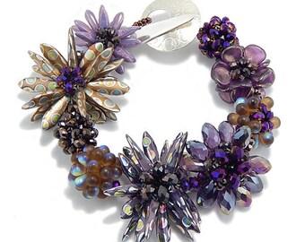 Purple Bracelet, Woven Glass Bracelet, Handmade Bracelet, Gift for Her, Statement Bracelet, Nature Jewelry