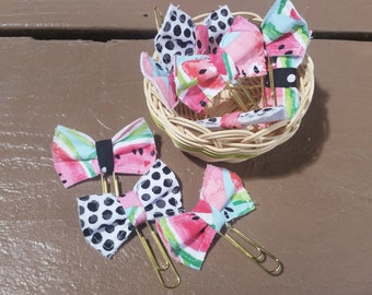 Watermelon planner clips - Grab bag sets -  bow clips - planner bows - planner goodies - planner accessories