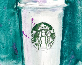 Starbucks Coffee Cup with Blue Background original Watercolor and print - 6 x 9
