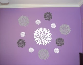 Flower wall decal - Set of 12 Flower Wall Decals - Dahlia Flower Decal - Nursery Wall Decal - Girls Wall Decal - teen decal