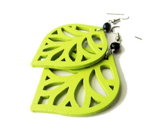 Bright Lime Green Leaf and Black Glass Earrings