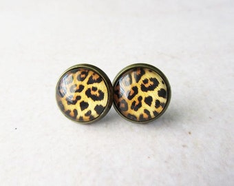 Leopard Glass Dome Stud Earrings - Antique Brass