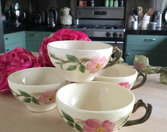 4 Vintage 1950s Franciscan MADE IN USA Desert Rose Tea Cups