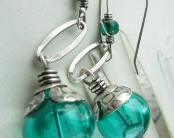 Teal Hollow Glass Earrings with Sterling Silver Metalwork