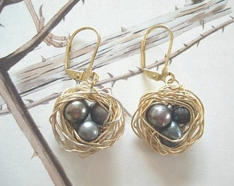 Gold Nest Earrings Wire Wrapped Nest Earrings Bird Nest Earrings Nest Jewelry