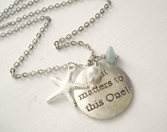 Starfish Necklace It Matters to this One Silver Starfish Sea Star Necklace Beach Wedding