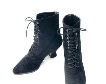SALE 90s Black Suede Boots size 7.5 Victorian Steampunk Granny Boots