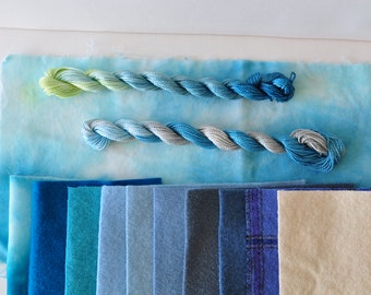 Morning Glory Pool, Hand Dyed Velvet and Wool Bundle, Mixed Fiber Pack, Color Inspiration, Layered Applique, Reclaimed Textiles,