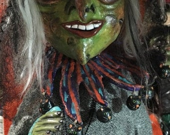 Folk Art Halloween Witch Greeter with big green eyes paper mache Halloween Decoration