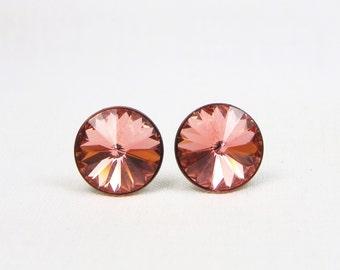 Swarovski Rivoli Earrings - 12MM - Crystal Studs - Rose Peach - Stainless Steel - Gift - Stud Earrings - Swarovski Studs