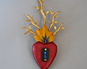Heart- Blossoming Heart with yellow flames and gold vines