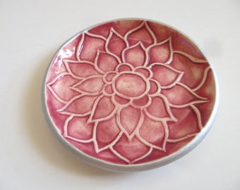wedding ring holder, ring dish, Lotus Flower, Silver and dark rose, handmade pottery