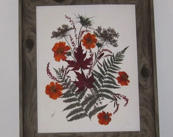 "Rustic Autumn Floral in ""barnwood"" frame, pressed flower art"