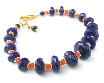 Faceted Lapis Bracelet with Carnelian and 14k gf beads - Natural Gemstone Handmade Jewelry