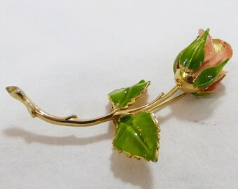 Vintage giovanni hand painted rose gold tone emanel rose flower pin brooch