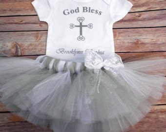 Baptism Tutu Outfit- Personalized Baptism outfit-Baptism Personalized Gift- Baby Girl-God Bless-Christening